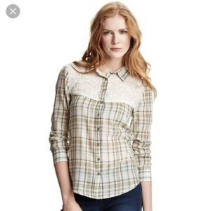 Free People Lace Plaid Button Down Top